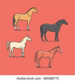 Horse, vector outline illustration