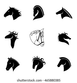 Horse vector set. Simple horse shape illustration, editable elements, can be used in logo design