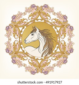 Horse in vintage decorative floral mandala frame. Vector illustration. Good for greeting card for birthday, invitation or banner