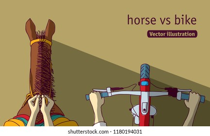 Horse vs bike top view