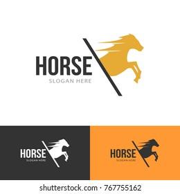 horse wild animal silhouette modern clean logo vector illustration