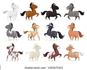 Horse wild or domestic animal set . Collection of various mammal from the farm. Isolated vector illustration in cartoon style