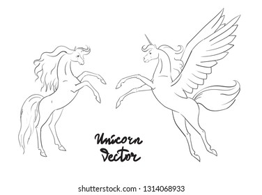 horse with wings unicorn vector