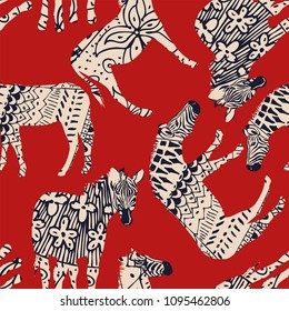Horse zebra wild animal abstract coloring red background. Trendy vector illustrations seamless pattern