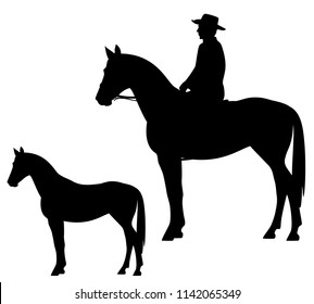 horseback cowboy and horse - wild west theme black vector silhouette
