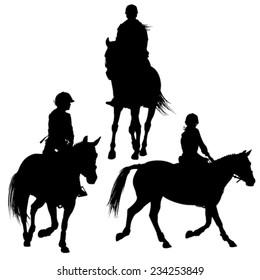 Horseback jockey silhouettes