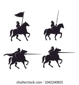 Horseback Knight Silhouette, Horse Warrior Paladin Medieval logo design