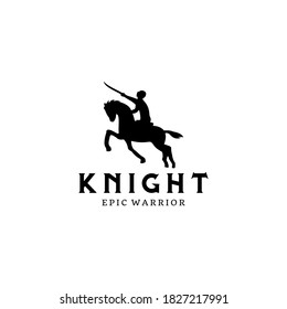 Horseback Knight Silhouette.  Horse Warrior Paladin Medieval logo design