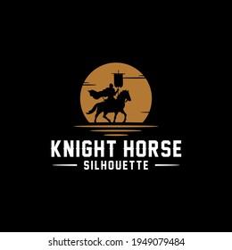 Horseback Knight Silhouette, Horse Warrior logo design with sunset and sunrise