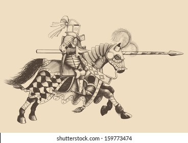 Horseback Knight of the tournament with a spear at the ready galloping towards the opponent. engraving