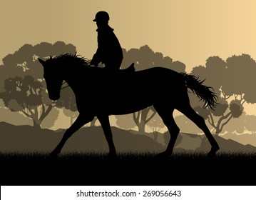 Horseback rider silhouette in nature vector background landscape freedom concept