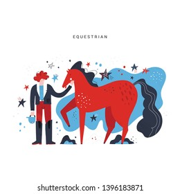 Horseback riding flat hand drawn vector illustration. Horse rider cartoon character. Equestrian sport. Equestrianism. Racehorse, stallion clipart. Hippodrome. Scandinavian style isolated drawing