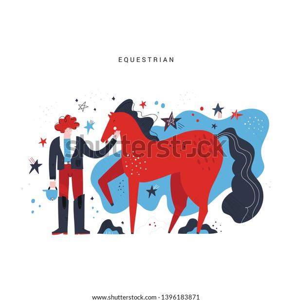 Horseback Riding Flat Hand Drawn Vector Stock Vector Royalty Free 1396183871