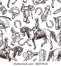 Horseback Riding Seamless Pattern With Rider And Equipment For Horses