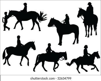 horseback riding silhouettes collection vector