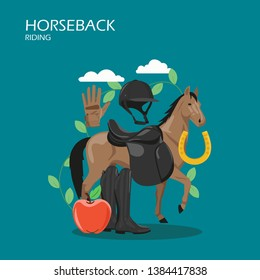 Horseback riding vector flat illustration. Race horse with sadle, helmet, glove, boots, apple and horseshoe. Horseback rider clothes, horse riding gear and tack accessories for web banner webpage etc.