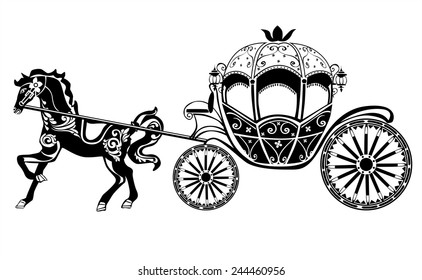 Horse-Carriage silhouette with horse