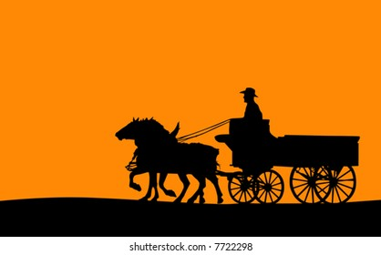 Horse-drawn Wagon Silhouette (Vector)