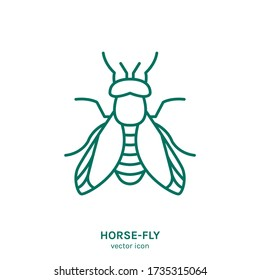 Horse-Fly sign. Horseflies insect pictogram. Outline icon. Graphic design for print, web, mobile and infographics in a simple style. Editable vector illustration isolated on white background.