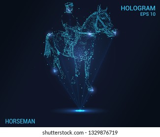 Horseman hologram. Digital and technological background. The rider on the horse