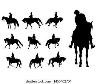 Horseman rides a horse on a white background