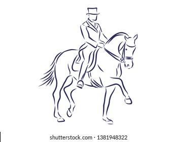 Horsemanship, jumping competition contour vector illustration