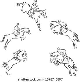 Horsemanship, jumping horse set, vector sketch illustration