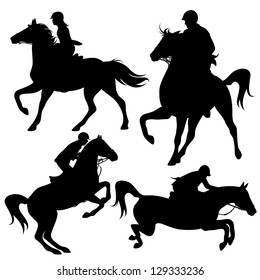 horsemen fine vector silhouettes - horseback jockeys black detailed outlines over white (horses are not merged with riders and can be easily edited)