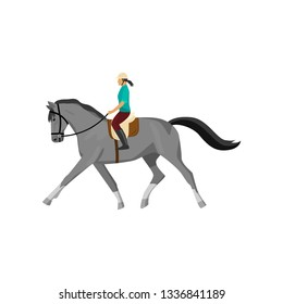 Horseracing woman isolated against white background