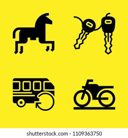 horseriding, motorbike, car key and bus vector icon set. Sample icons set for web and graphic design