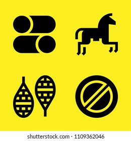 horseriding, prohibition, controls and snowshoes vector icon set. Sample icons set for web and graphic design