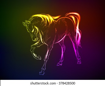 Horses. Hand-drawn neon illustration