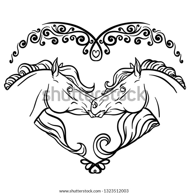 Horses Heart Coloring Page Vector Illustration Stock Vector ...