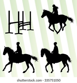 Horses with jockey equestrian sport vector background concept set