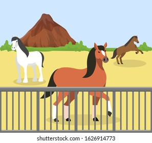 Horses outdoor behind fence on manege at hippodrome, ranch, farm stable vector illustration. Purebred racehorses domestic animal husbandry nature mountain rock landscape.
