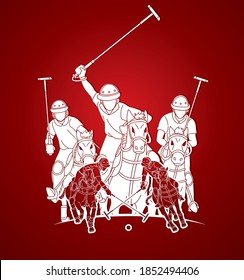 Horses Polo players action cartoon graphic vector