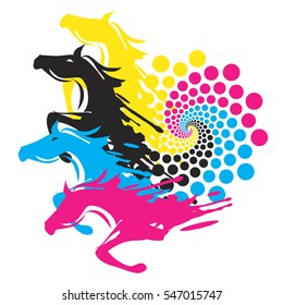 Horses With Print Color Circle Four Running horses with the circle of the print colors. Concept for presenting of color printing. Vector available.
