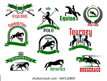 Horses with riders, cart and polo player, whips, trophy, mallets, bordered by ribbon banners, wreath, starry arches and crowns sporting icons for equestrian tourney, derby, polo club, horserace design