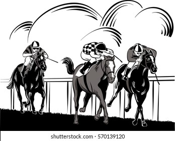 Horses and riders during a race.
