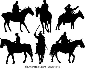 horses and riders silhouettes