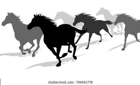 Horses running silhouette