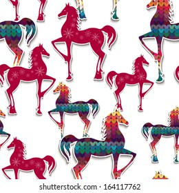 Horses seamless pattern. Great choice for wrapping paper pattern.