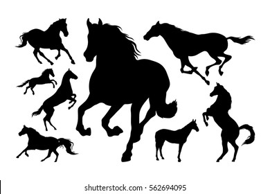 Horses silhouette set vector illustration