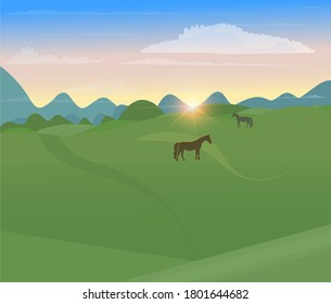 Horses are walking across the field. Sunset in the field against the background of mountains. Rural geometric landscape in minimalistic style