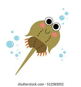 Horseshoe Crab (Xiphosura) animal cartoon character isolated on white background.