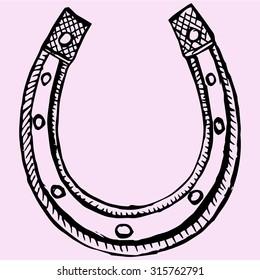 horseshoe, doodle style, sketch illustration