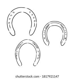 Horseshoe. Doodle style. horseshoe vector sketch illustration