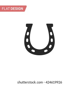 Horseshoe icon. Silhouette horseshoe. Horseshoe isolated on background