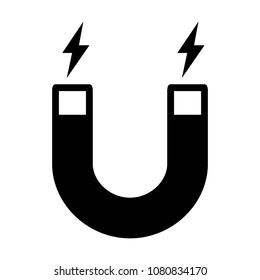 Horseshoe magnet with magnetic charge flat vector icon for apps and websites