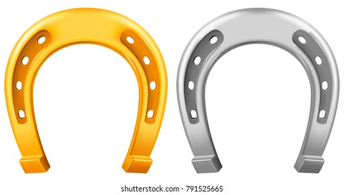 Horseshoe, two versions- gold and silver. Vector illustration.